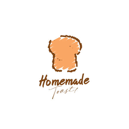 Homemade bakery toasted bread logo in scribble doodle style illustration icon symbol