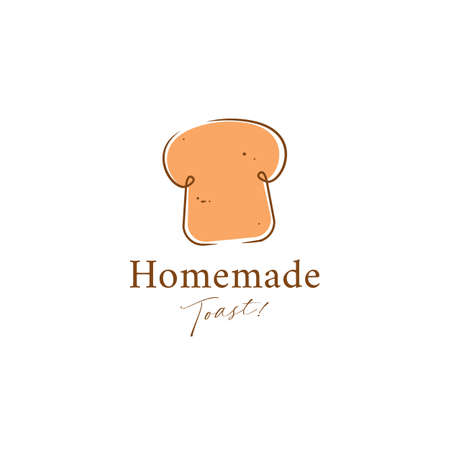 homemade toast bakery logo icon symbol in doodle scribble style vector illustration Vettoriali