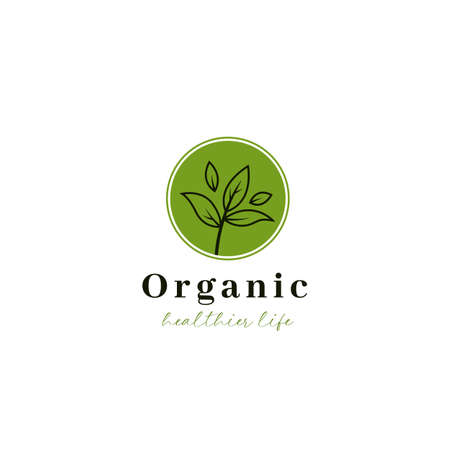 Organic herbal leaf tea logo icon in simple shoots illustration Ilustração