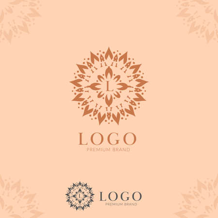 Letter L abstract flower mandala logo icon template vector in premium elegant style good for jewelry, hotel, hospitality, artistic brand company