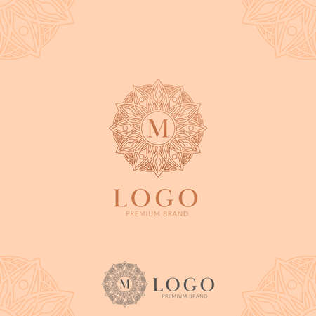 Letter M abstract flower mandala logo icon template vector in premium elegant style good for jewelry, hotel, hospitality, artistic brand company Illustration