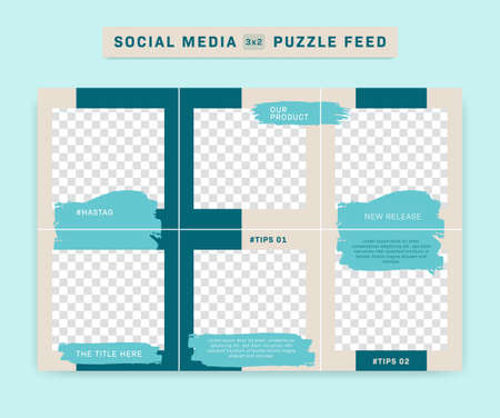 Social media IG  puzzle post feed vector template with blue brush paint stroke and cream simple background frame