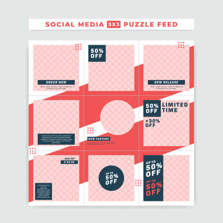 Social media  ig puzzle feed post square size vector template design for promotion sale red white blue bold simple style 向量圖像