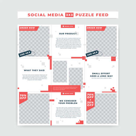 Red white simple bold  ig puzzle feed post square size vector template design for product branding promotion sale