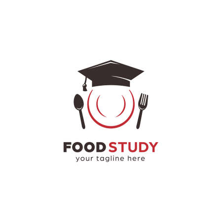 Cooking food nutrition study education logo with academic graduation cap and plate icon illustration