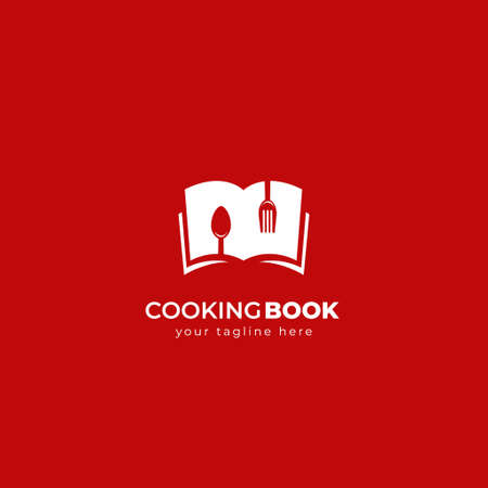 Cooking book  icon symbol with open recipe book, fork and spoon in simple negative space style