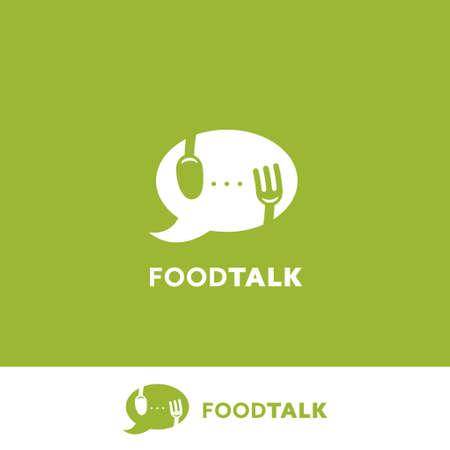 Food talk food podcast blogging logo icon with bubble speech symbol