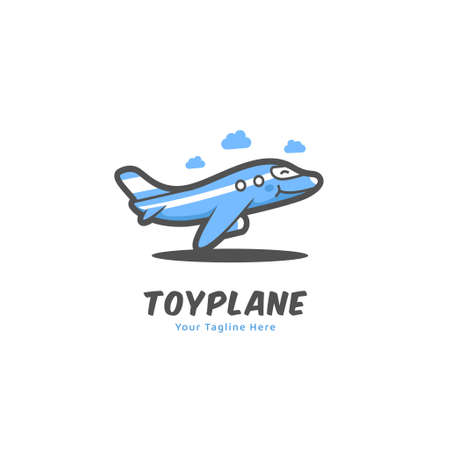 Cute funny toy plane logo icon symbol in cartoon comic mascot character of flying humanized plane