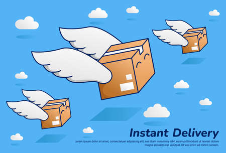 flying fast parcel package with wing instant delivery illustration flat vector cartoon