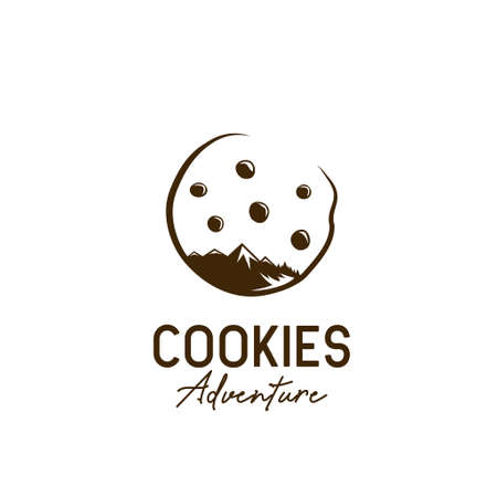 Cookie cookies outdoor adventure icon with mountain, forest and chocolate chip star illustration concept