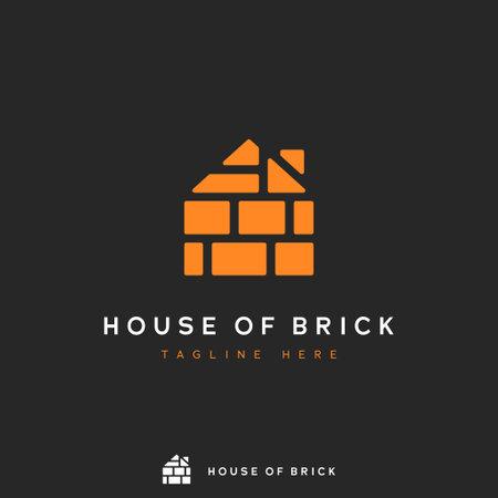 House of brick logo, pile of orange brick form in house shape concept icon logo