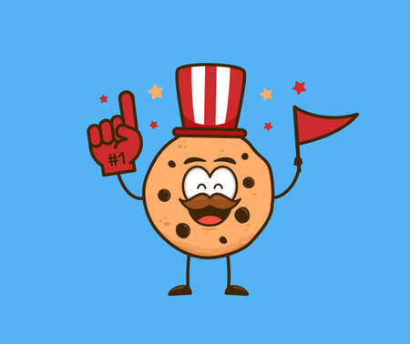 Cute cookies snack cartoon character as supporter fans cheering wear number 1 gloves vector illustration graphic Ilustracja