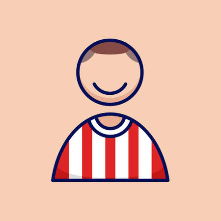 Soccer football player people icon simple and minimalist in cartoon outlined graphic vector illustration style