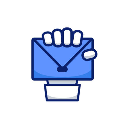 Hand fist holding email mail envelope icon sign symbol vector
