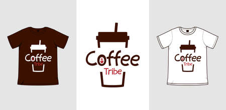Coffee cup lover coffee tribe vector design illustration template for merchandise printing or sublime Çizim