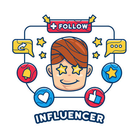 Internet social media addict influencer illustration concept 일러스트