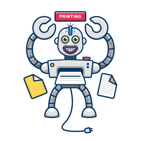 Quirky funny printer robot mascot character illustration vector