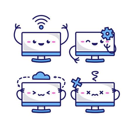 Cute monitor screen cartoon character mascot illustration set