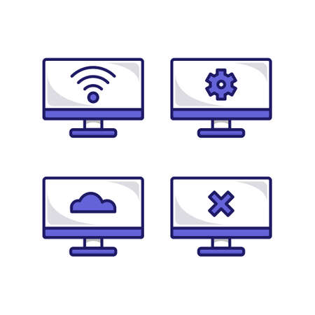 Modern computer monitor tv icon symbol vector set 일러스트