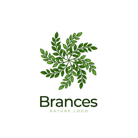 Nature tree branches with foliage leaf logo icon symbol vector 일러스트