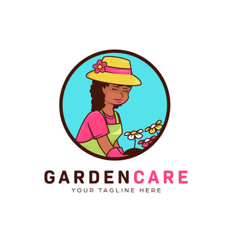 Flower gardening landscape and lawncare logo with humble african gardener woman mascot icon illustration vector