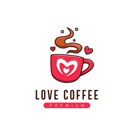 Coffee love logo icon symbol in cute fun style cartoon