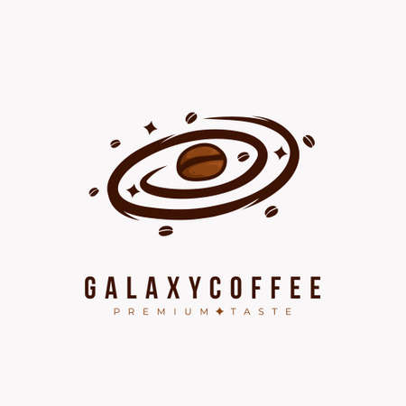 Galaxy coffee logo, coffee bean as planet in the galaxy logo icon concept for cafe and coffee shop