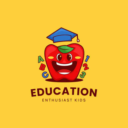 Funny apple education logo with big smile and wear graduation hat in cartoon mascot illustration style