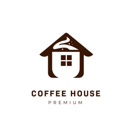 Coffee house logo with cup of coffee logo icon symbol inside house