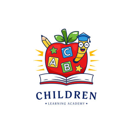 Kindergarten children learning school academy logo with apple and golden worm illustration logo cartoon style 일러스트