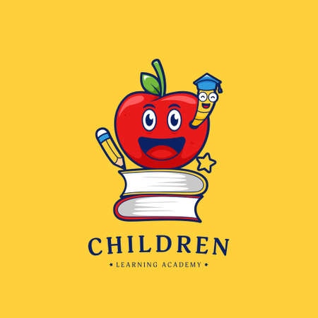 Happy apple children education learning academy logo icon with apple and happy worm illustration vector mascot 일러스트