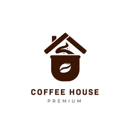 Coffee house logo with cup of coffee and roof icon symbol 일러스트