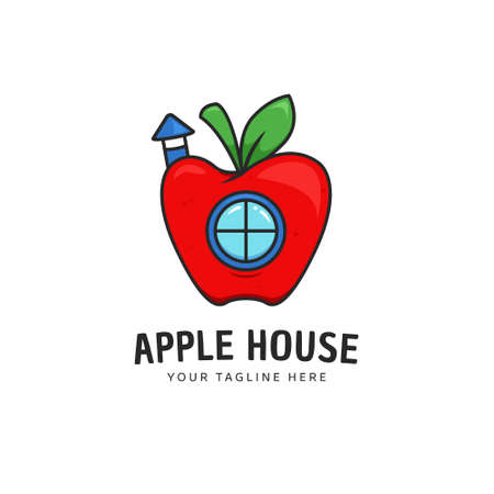 Apple house logo icon with apple as home with round window and chimney cartoon logo