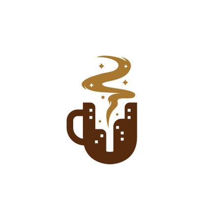 Letter U coffee city cafe logo, coffee mug with city skyscraper silhouette logo icon concept 일러스트