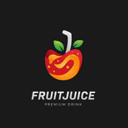 Premium fruit juice smoothies drink logo symbol with apple as mug glass icon illustration vector 일러스트