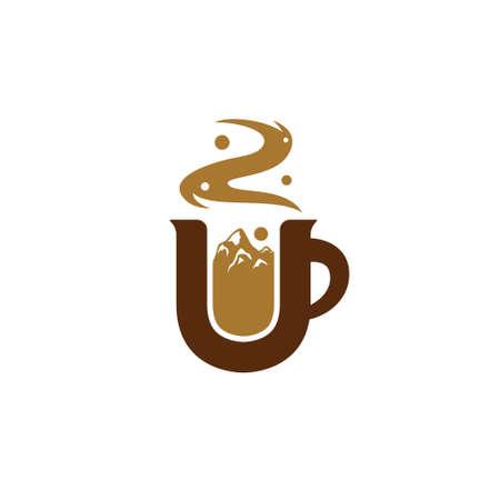 Letter U coffee logo with mountain illustration inside mug icon symbol