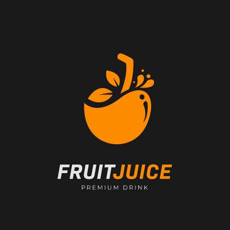 Orange premium fruit juice bar drink logo icon symbol vector