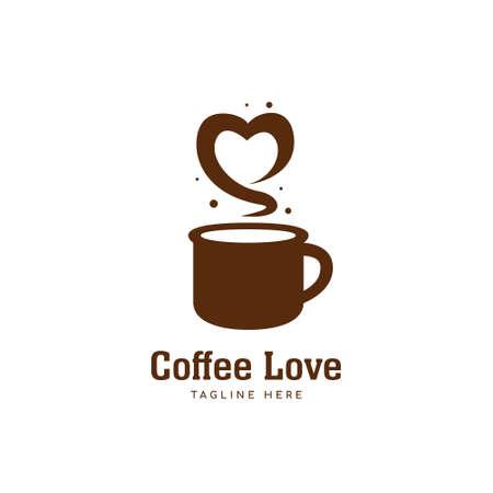 Coffee love logo, brown coffee mug logo with love shape aroma icon symbol 일러스트