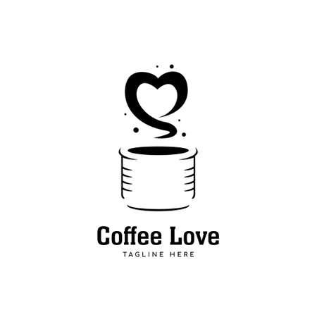 Coffee love logo, coffee mug logo with love shape aroma icon symbol 일러스트
