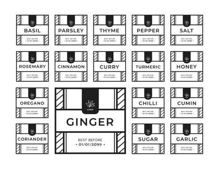 Kitchen seasoning pantry sticker label collection set black white simple square style 일러스트