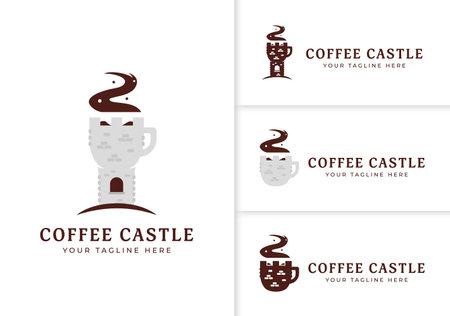 Coffee medieval castle unique cafe logo icon set, stone castle tower as coffee mug logo concept 일러스트
