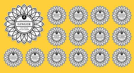 Mandala flower kitchen seasoning pantry label organizer set collection
