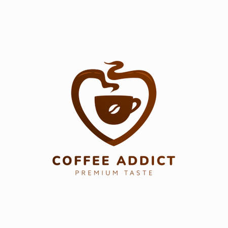 Coffee love lover logo, coffee addict with cup and aroma in love shape logo icon