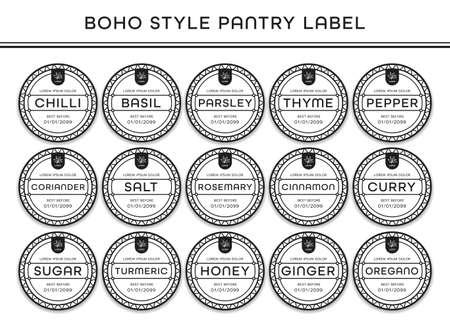 Kitchen seasoning pantry sticker label black white boho bohemian artistic style 일러스트