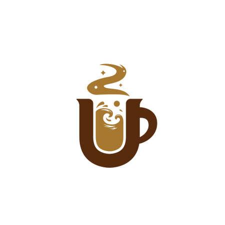 Letter U coffee logo with sea ocean wave illustration inside mug icon symbol