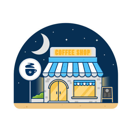 Coffee shop cafe building in night time vector flat illustration