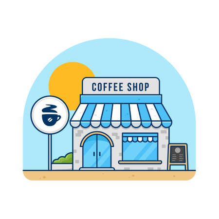 Coffee shop cafe building in day time vector flat illustration 일러스트