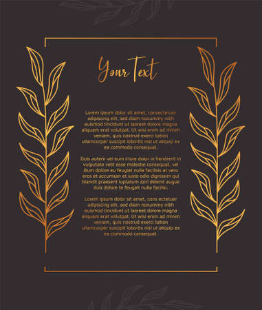 Square gold luxury floral flower laurel wreath frame vector rustic decoration with copy text space template for book or invitation