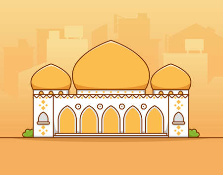 Islamic moslem big grand mosque with gold yellow dome in middle of city silhouette flat vector illustration 일러스트