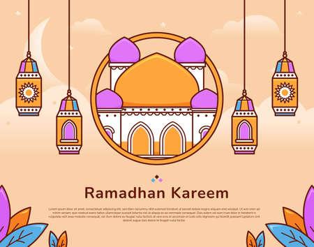 Colorful ramadan kareem festive greeting illustration vector with mosque and islamic muslim lantern 일러스트